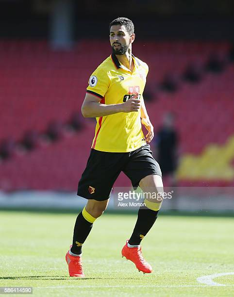 Miguel Britos of Watford during the preseason friendly match between Watford and Lorient at Vicarage Road on August 6 2016 in Watford England
