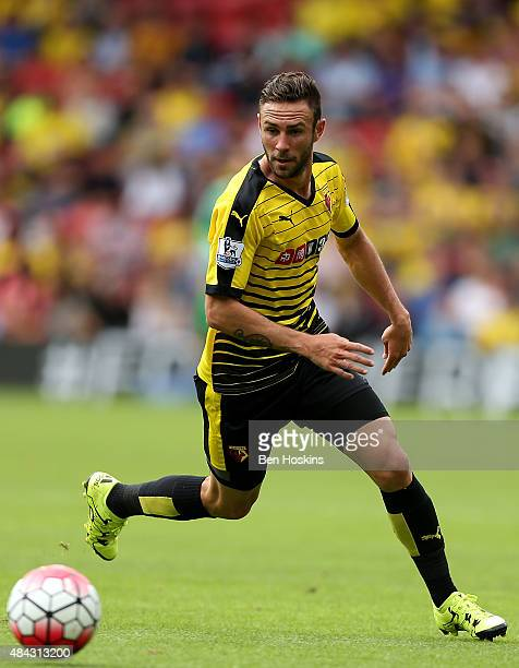 Miguel Britos of Watford in action during the Barclays Premier League match between Watford and West Bromwich Albion on August 15 2015 in Watford...