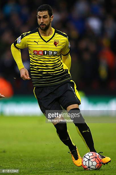 Miguel Britos of Watford in action during The Emirates FA Cup Fifth Round match between Watford and Leeds United at Vicarage Road on February 20 2016...
