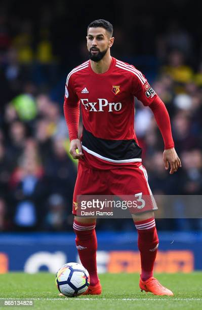 Miguel Britos of Watford runs with the ball during the Premier League match between Chelsea and Watford at Stamford Bridge on October 21 2017 in...