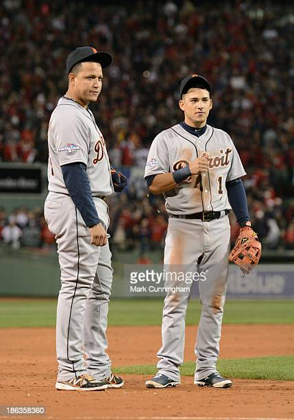 Miguel Cabrera and Jose Iglesias of the Detroit Tigers look on during Game Six of the American League Championship Series against the Boston Red Sox...