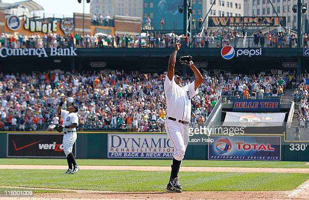 Miguel Cabrera and Jose Valverde of the Detroit Tigers celebrates a 43 win over the Chicago White Sox during the game at Comerica Park on July 17...
