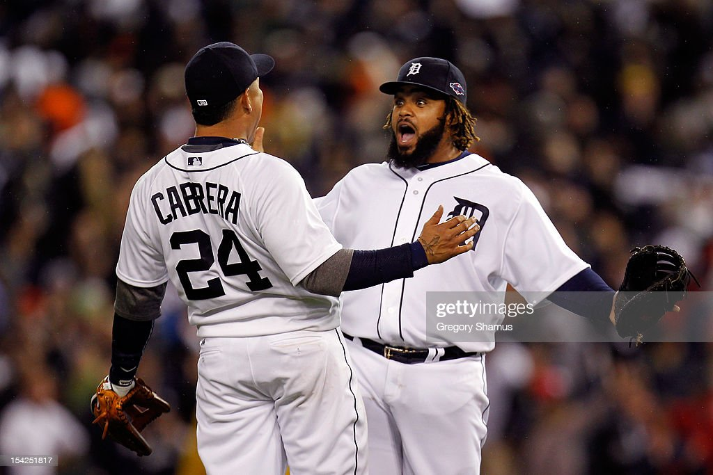 Miguel Cabrera #24 and Prince Fielder #28 of the Detroit Tigers celebrate after they 2-1 against the New York Yankees during game three of the American League Championship Series at Comerica Park on October 16, 2012 in Detroit, Michigan.