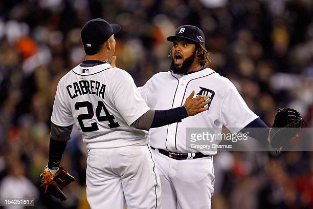 Miguel Cabrera and Prince Fielder of the Detroit Tigers celebrate after they 2-1 against the New York Yankees during game three of the American...