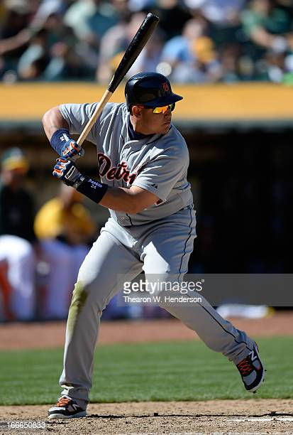 Miguel Cabrera of the Detroit Tiger bats against the Oakland Athletics at Oco Coliseum on April 14 2013 in Oakland California