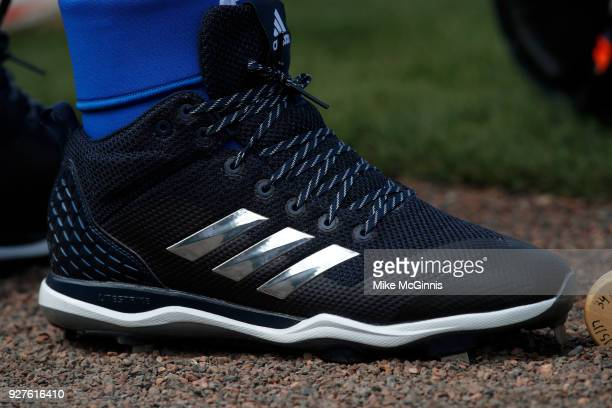 Miguel Cabrera of the Detroit Tigers adidas cleats during the Spring Training game against the Miami Marlins and the Detroit Tigers at Joker Marchant...