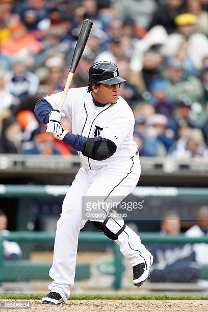 Miguel Cabrera of the Detroit Tigers at bat against the Cleveland Indians during Opening Day on April 9, 2010 at Comerica Park in Detroit, Michigan....
