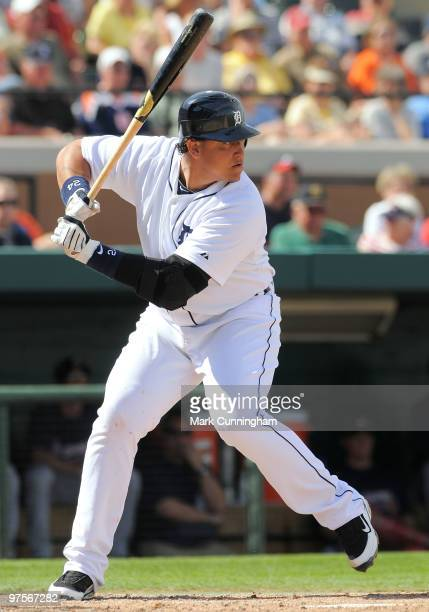 Miguel Cabrera of the Detroit Tigers bats against the Atlanta Braves during a spring training game at Joker Marchant Stadium on March 8 2010 in...