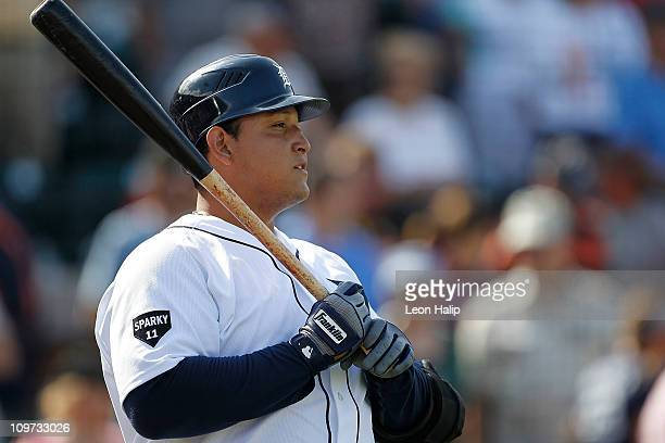 Miguel Cabrera of the Detroit Tigers bats against the Houston Astros at Joker Marchant Stadium on March 2 2011 in Lakeland Florida The Astros...