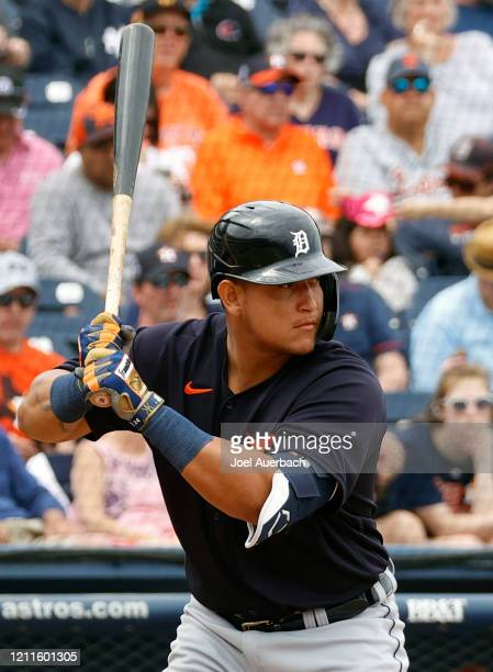 Miguel Cabrera of the Detroit Tigers bats against the Houston Astros during a spring training game at the FITTEAM Ballpark of the Palm Beaches on...