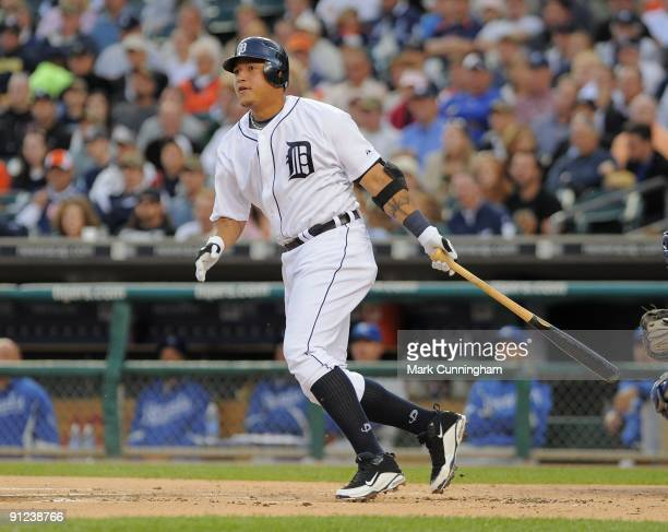 Miguel Cabrera of the Detroit Tigers bats against the Kansas City Royals during the game at Comerica Park on September 16, 2009 in Detroit, Michigan....