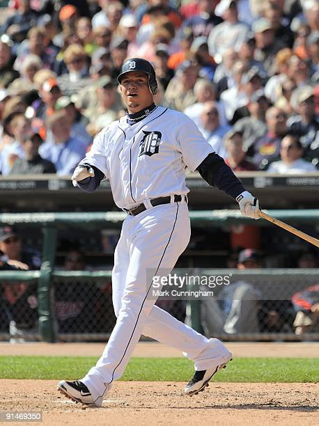 Miguel Cabrera of the Detroit Tigers bats against the Minnesota Twins during the game at Comerica Park on October 1 2009 in Detroit Michigan The...