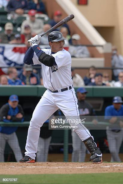 Miguel Cabrera of the Detroit Tigers bats during the game against the New York Mets at Joker Marchant Stadium in Lakeland, Florida on February 27,...