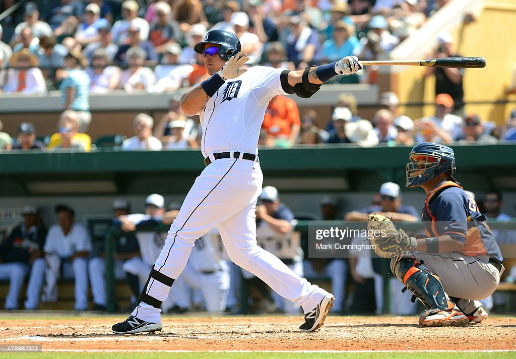 Miguel Cabrera #24 of the Detroit Tigers bats during the spring training game against the Houston Astros at Joker Marchant Stadium on March 15, 2014 in Lakeland, Florida. The Tigers defeated the Astros 14-3.