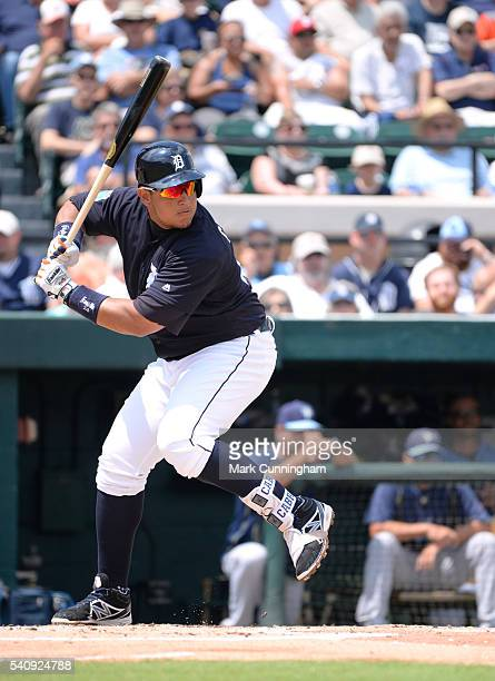Miguel Cabrera of the Detroit Tigers bats during the Spring Training game against the Tampa Bay Rays at Joker Marchant Stadium on April 1 2016 in...