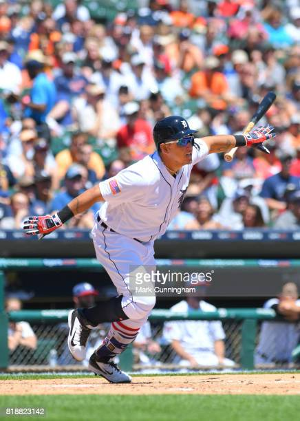 Miguel Cabrera of the Detroit Tigers bats while wearing a special red white and blue jersey and socks to honor Independence Day during the Fourth of...