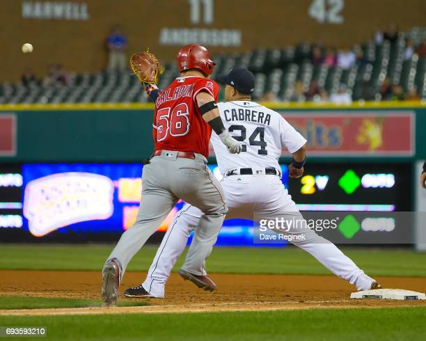 Miguel Cabrera of the Detroit Tigers catches the ball for a double play out in the ninth inning on Kole Calhoun of the Los Angeles Angels during a...