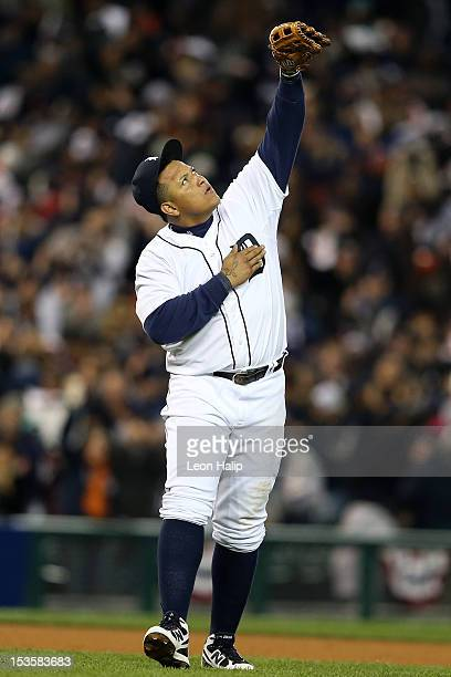 Miguel Cabrera of the Detroit Tigers celebrates after they won 3-1 against the Oakland Athletics during Game One of the American League Division...