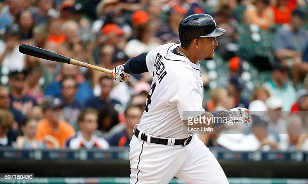 Miguel Cabrera of the Detroit Tigers doubles in the fourth inning of the game against the Los Angeles Angels on August 28 2016 at Comerica Park in...