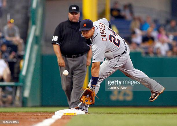 Miguel Cabrera of the Detroit Tigers fields a ground ball against the Pittsburgh Pirates during the game on May 30 2013 at PNC Park in Pittsburgh...