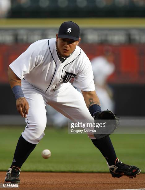Miguel Cabrera of the Detroit Tigers fields a ground ball during the first inning against the Cleveland Indians on July 8 2008 at Comerica Park in...