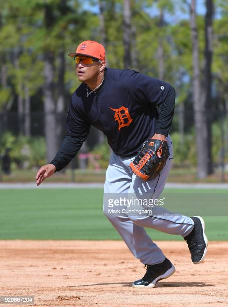 Miguel Cabrera of the Detroit Tigers fields during Spring Training workouts at the TigerTown Facility on February 19 2018 in Lakeland Florida