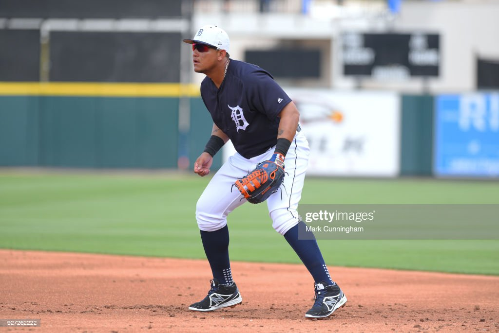 Miguel Cabrera #24 of the Detroit Tigers fields during the Spring Training game against the Atlanta Braves at Publix Field at Joker Marchant Stadium on March 1, 2018 in Lakeland, Florida. The Braves defeated the Tigers 5-2.