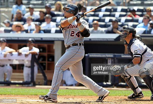 Miguel Cabrera of the Detroit Tigers follows through on a first inning two run home run against the New York Yankees on August 19 2010 at Yankee...