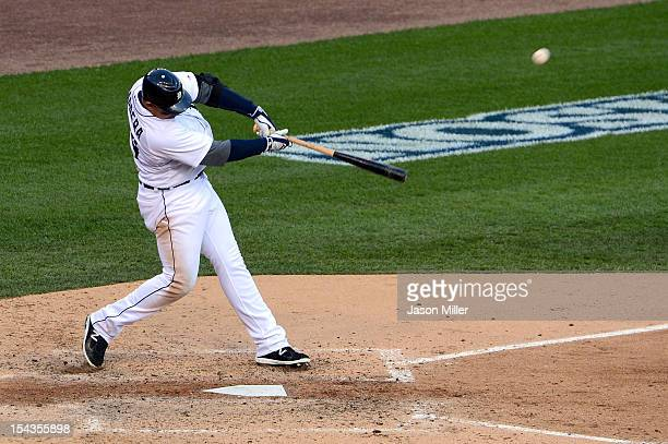 Miguel Cabrera of the Detroit Tigers hits a 2run home run in the bottom of the fourth inning against the New York Yankees during game four of the...