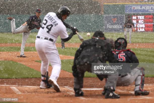 Miguel Cabrera of the Detroit Tigers hits a first inning two run home run off of a pitch from Shane Bieber of the Cleveland Indians during Opening...