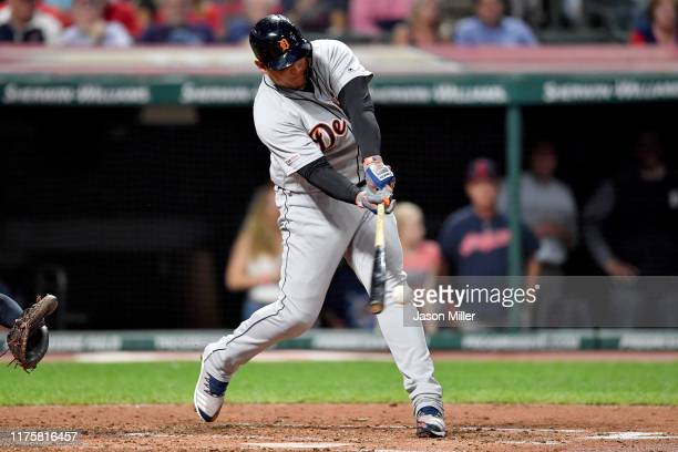 Miguel Cabrera of the Detroit Tigers hits a single during the third inning during the third inning against the Cleveland Indians at Progressive Field...