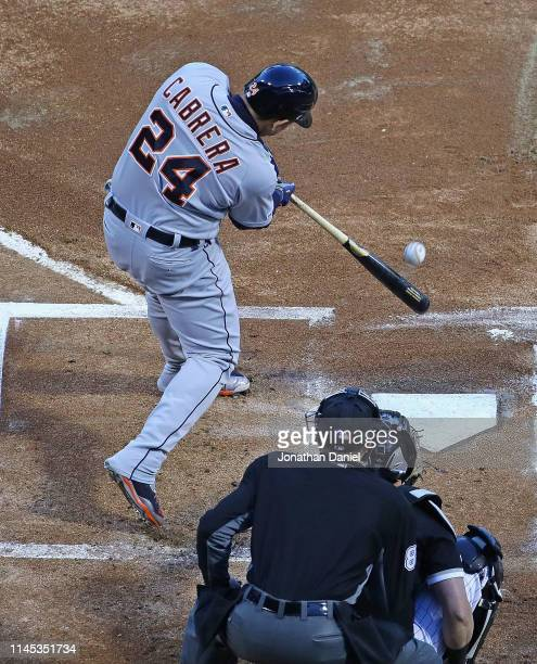 Miguel Cabrera of the Detroit Tigers hits a solo home run in the 1st inning against the Chicago White Sox at Guaranteed Rate Field on April 26, 2019...