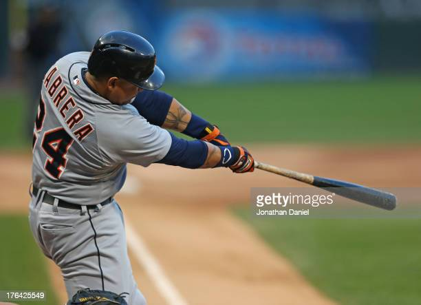 Miguel Cabrera of the Detroit Tigers hits a solo home run in the 1st inning against the Chicago White Sox at US Cellular Field on August 12 2013 in...