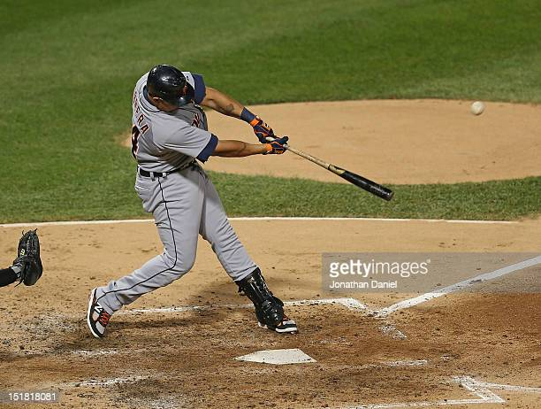 Miguel Cabrera of the Detroit Tigers hits a solo home run in the 6th inning, his 36th home run of the year, against the Chicago White Sox at U.S....