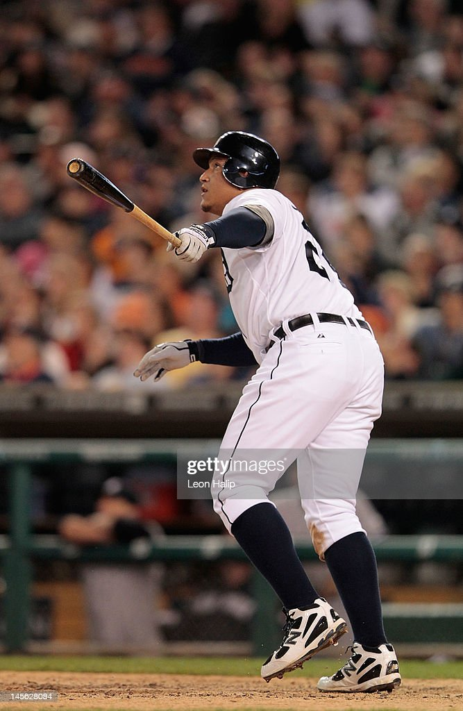 Miguel Cabrera #24 of the Detroit Tigers hits a solo home run to center field in the eighth inning during the game against the New York Yankees at Comerica Park on June 2, 2012 in Detroit, Michigan. The Tigers defeated the Yankees 4-3.