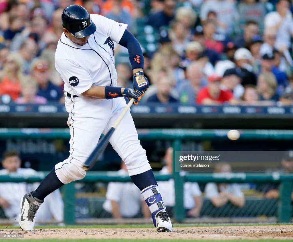 Miguel Cabrera #24 of the Detroit Tigers hits a two-run home run against the Toronto Blue Jays during the sixth inning at Comerica Park on July 15, 2017 in Detroit, Michigan.