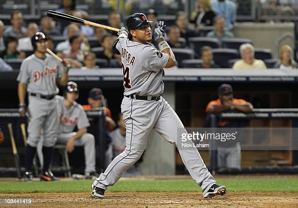 Miguel Cabrera of the Detroit Tigers hits his second solo home run against the New York Yankees at Yankee Stadium on August 18, 2010 in the Bronx...