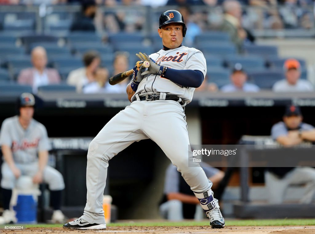 Miguel Cabrera #24 of the Detroit Tigers is brushed back by a pitch in the first inning against the New York Yankees on July 31, 2017 at Yankee Stadium in the Bronx borough of New York City.