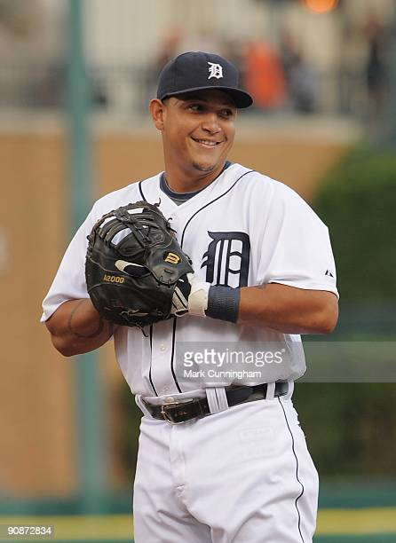 Miguel Cabrera of the Detroit Tigers looks on against the Kansas City Royals during the game at Comerica Park on September 15, 2009 in Detroit,...