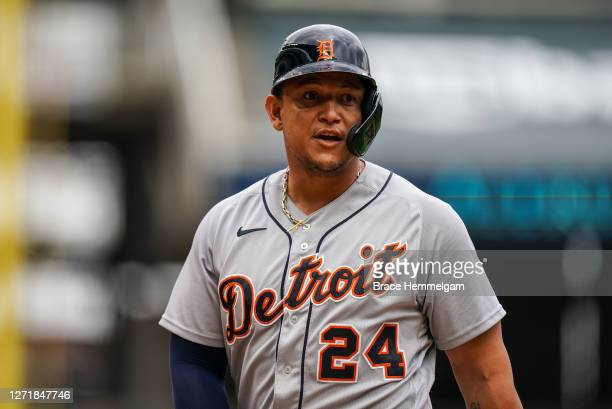 Miguel Cabrera of the Detroit Tigers looks on against the Minnesota Twins on September 6, 2020 at Target Field in Minneapolis, Minnesota.