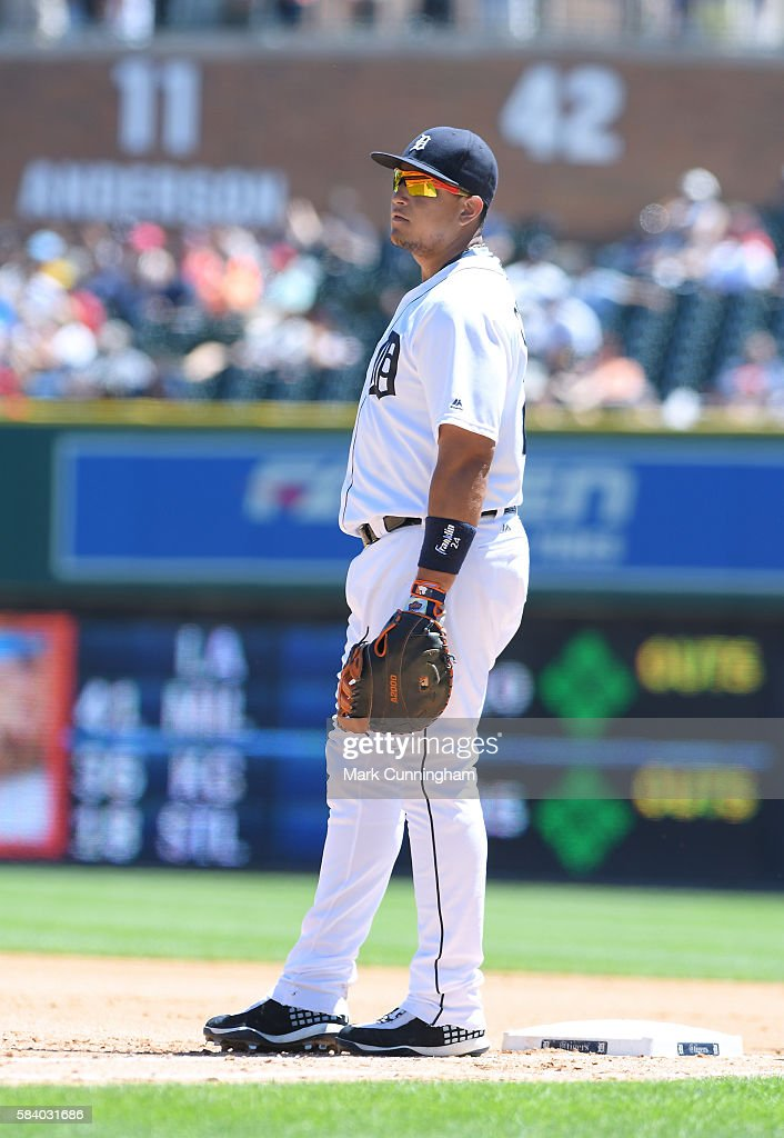 Miguel Cabrera #24 of the Detroit Tigers looks on during the game against the Miami Marlins at Comerica Park on June 29, 2016 in Detroit, Michigan. The Tigers defeated the Marlins 10-3.