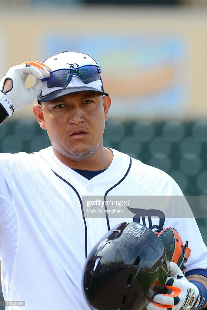 Miguel Cabrera #24 of the Detroit Tigers looks on during the spring training game against the Florida Southern College Moccasins at Joker Marchant Stadium on February 25, 2014 in Lakeland, Florida. The Tigers defeated the Moccasins 12-0.