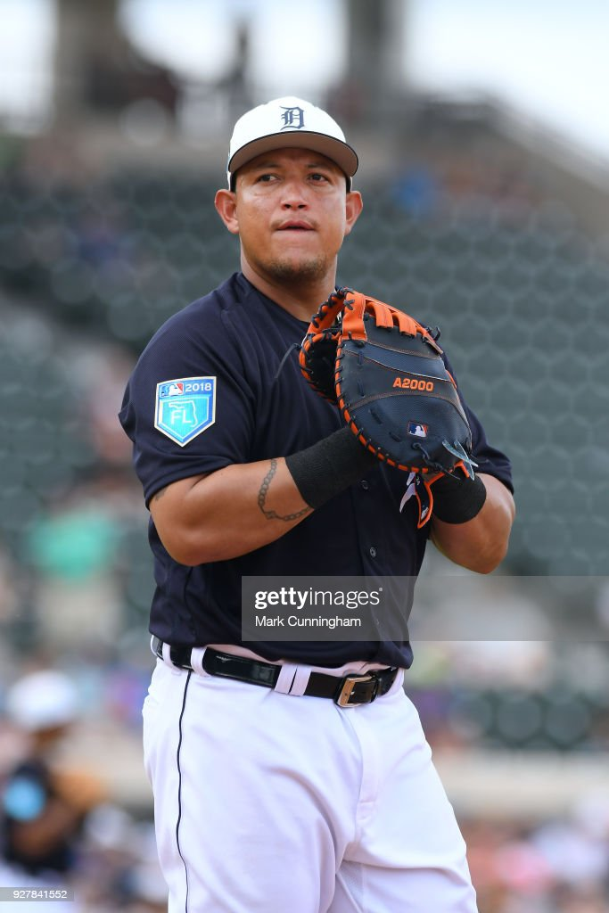 Miguel Cabrera #24 of the Detroit Tigers looks on during the Spring Training game against the Toronto Blue Jays at Publix Field at Joker Marchant Stadium on February 24, 2018 in Lakeland, Florida. The Tigers defeated the Blue Jays 5-4.