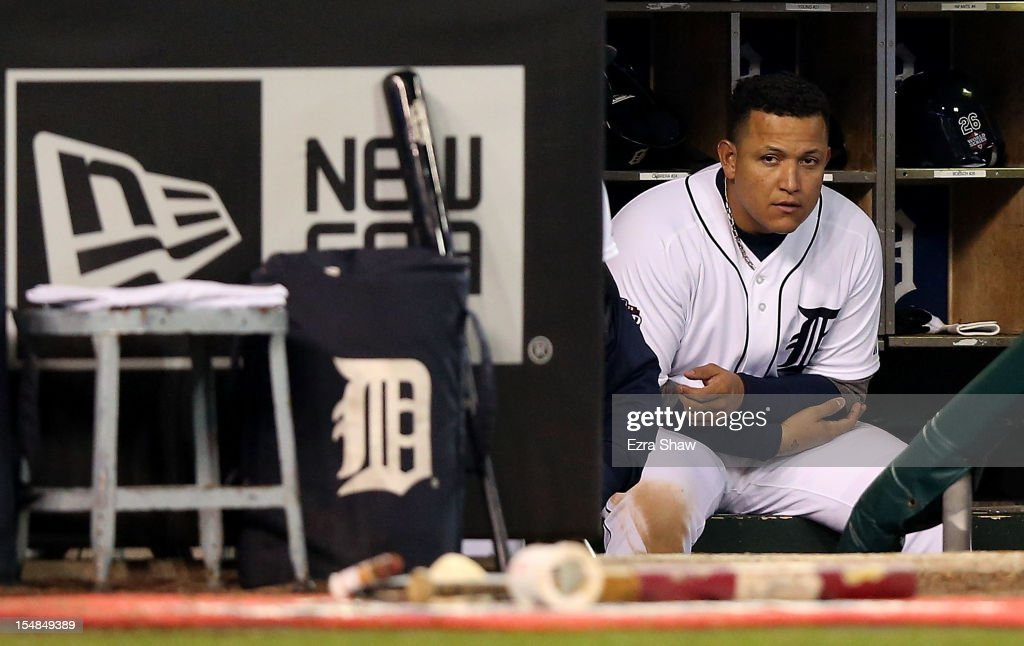 Miguel Cabrera #24 of the Detroit Tigers looks on from the dugout against the San Francisco Giants in the ninth inning during Game Three of the Major League Baseball World Series at Comerica Park on October 27, 2012 in Detroit, Michigan.