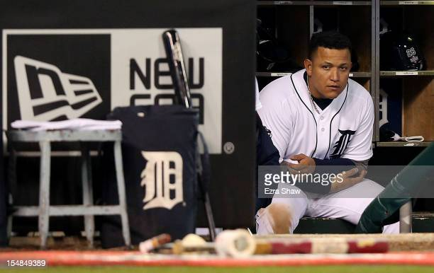 Miguel Cabrera of the Detroit Tigers looks on from the dugout against the San Francisco Giants in the ninth inning during Game Three of the Major...