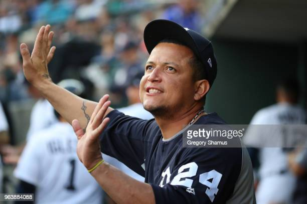 Miguel Cabrera of the Detroit Tigers looks on from the dugout while playing the Los Angeles Angels at Comerica Park on May 30 2018 in Detroit Michigan
