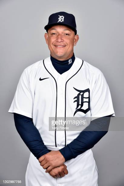 Miguel Cabrera of the Detroit Tigers poses during Photo Day on Wednesday, February 20, 2020 at Publix Field at Joker Marchant Stadium in Lakeland,...