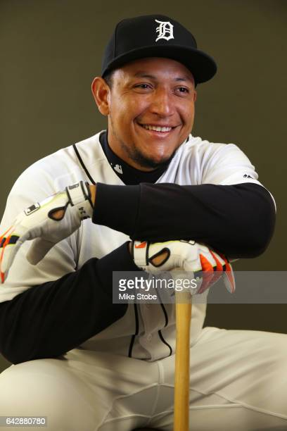 Miguel Cabrera of the Detroit Tigers poses for a portait during a MLB photo day at Publix Field at Joker Marchant Stadium on February 19 2017 in...