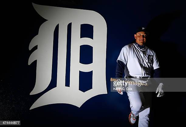 Miguel Cabrera of the Detroit Tigers poses for a portrait during photo day on February 23, 2014 at Joker Marchant Stadium in Lakeland, Florida.