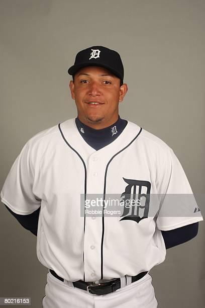Miguel Cabrera of the Detroit Tigers poses for a portrait during photo day at Marchant Stadium on February 23 2008 in Lakeland Florida